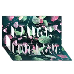 Modern Green And Pink Leaves Laugh Live Love 3d Greeting Card (8x4) by DanaeStudio