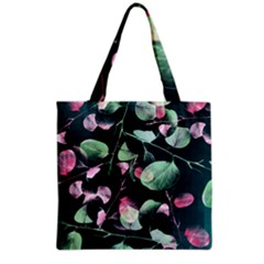 Modern Green And Pink Leaves Grocery Tote Bag by DanaeStudio