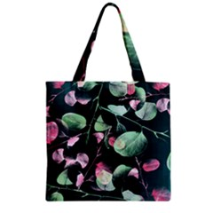 Modern Green And Pink Leaves Zipper Grocery Tote Bag by DanaeStudio