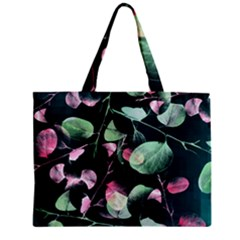 Modern Green And Pink Leaves Zipper Mini Tote Bag by DanaeStudio