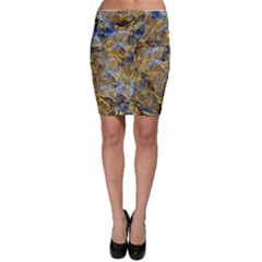 Antique Anciently Gold Blue Vintage Design Bodycon Skirt by designworld65