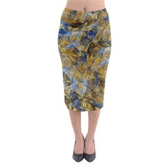 Antique Anciently Gold Blue Vintage Design Midi Pencil Skirt by designworld65