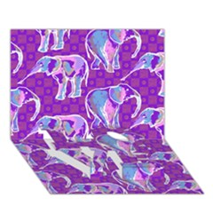 Cute Violet Elephants Pattern Love Bottom 3d Greeting Card (7x5) by DanaeStudio