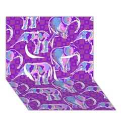 Cute Violet Elephants Pattern Clover 3D Greeting Card (7x5)