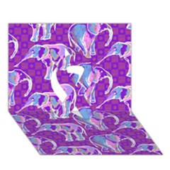 Cute Violet Elephants Pattern Ribbon 3d Greeting Card (7x5) by DanaeStudio