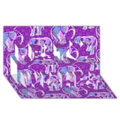 Cute Violet Elephants Pattern Best Wish 3d Greeting Card (8x4) by DanaeStudio
