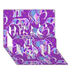 Cute Violet Elephants Pattern Miss You 3D Greeting Card (7x5)