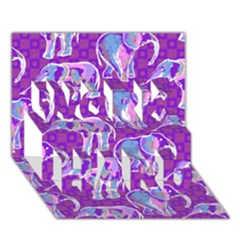 Cute Violet Elephants Pattern WORK HARD 3D Greeting Card (7x5)