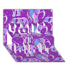 Cute Violet Elephants Pattern You Did It 3d Greeting Card (7x5) by DanaeStudio