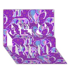 Cute Violet Elephants Pattern Get Well 3d Greeting Card (7x5) by DanaeStudio