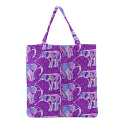 Cute Violet Elephants Pattern Grocery Tote Bag by DanaeStudio