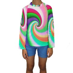 Colorful Spiral Dragon Scales   Kids  Long Sleeve Swimwear