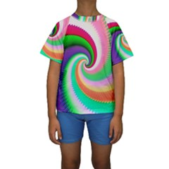 Colorful Spiral Dragon Scales   Kids  Short Sleeve Swimwear