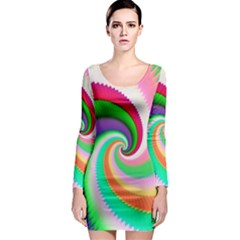 Colorful Spiral Dragon Scales   Long Sleeve Bodycon Dress