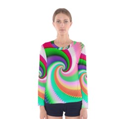 Colorful Spiral Dragon Scales   Women s Long Sleeve Tee