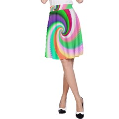 Colorful Spiral Dragon Scales   A-Line Skirt