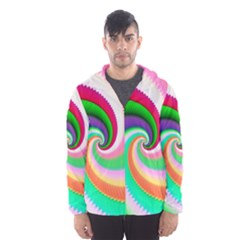 Colorful Spiral Dragon Scales   Hooded Wind Breaker (Men)
