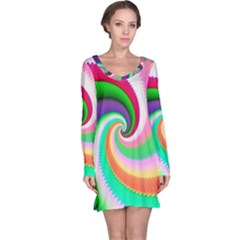 Colorful Spiral Dragon Scales   Long Sleeve Nightdress by designworld65