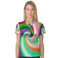 Colorful Spiral Dragon Scales   Women s V-Neck Sport Mesh Tee