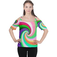 Colorful Spiral Dragon Scales   Women s Cutout Shoulder Tee