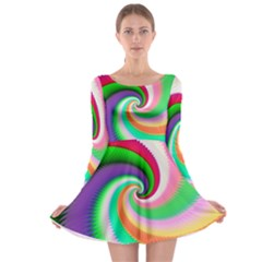 Colorful Spiral Dragon Scales   Long Sleeve Skater Dress by designworld65