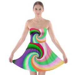 Colorful Spiral Dragon Scales   Strapless Bra Top Dress