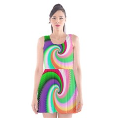 Colorful Spiral Dragon Scales   Scoop Neck Skater Dress
