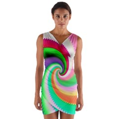 Colorful Spiral Dragon Scales   Wrap Front Bodycon Dress