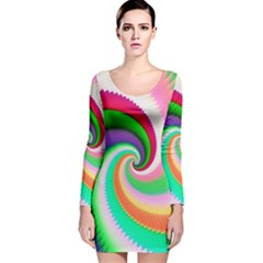 Colorful Spiral Dragon Scales   Long Sleeve Velvet Bodycon Dress