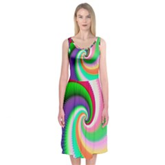Colorful Spiral Dragon Scales   Midi Sleeveless Dress by designworld65