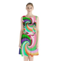 Colorful Spiral Dragon Scales   Sleeveless Chiffon Waist Tie Dress