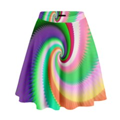 Colorful Spiral Dragon Scales   High Waist Skirt