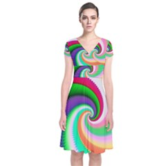 Colorful Spiral Dragon Scales   Short Sleeve Front Wrap Dress by designworld65