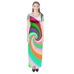 Colorful Spiral Dragon Scales   Short Sleeve Maxi Dress