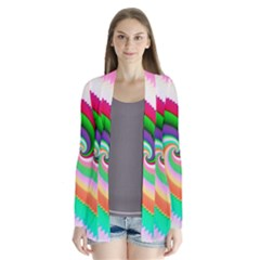 Colorful Spiral Dragon Scales   Drape Collar Cardigan