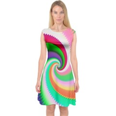 Colorful Spiral Dragon Scales   Capsleeve Midi Dress