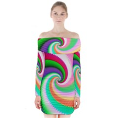 Colorful Spiral Dragon Scales   Long Sleeve Off Shoulder Dress