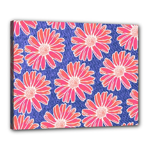 Pink Daisy Pattern Canvas 20  X 16  by DanaeStudio