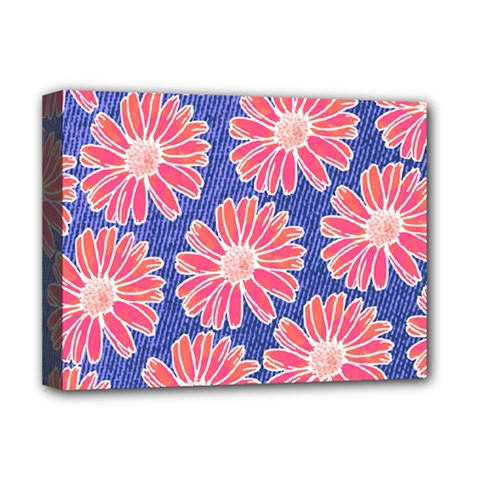 Pink Daisy Pattern Deluxe Canvas 16  X 12   by DanaeStudio