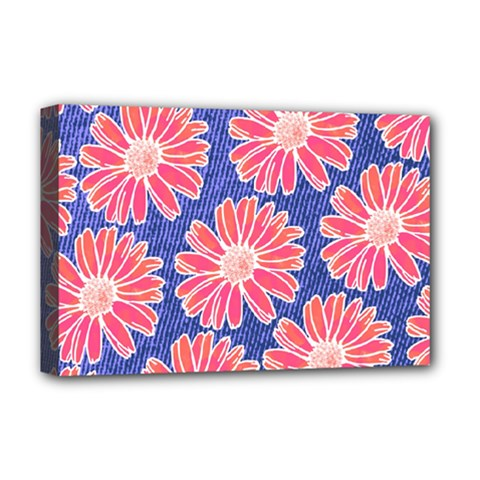 Pink Daisy Pattern Deluxe Canvas 18  X 12   by DanaeStudio