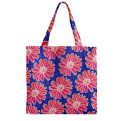 Pink Daisy Pattern Zipper Grocery Tote Bag by DanaeStudio