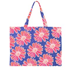 Pink Daisy Pattern Zipper Large Tote Bag by DanaeStudio