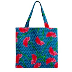 Carnations Zipper Grocery Tote Bag by DanaeStudio