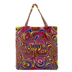 Abstract Shimmering Multicolor Swirly Grocery Tote Bag by designworld65