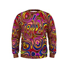 Abstract Shimmering Multicolor Swirly Kids  Sweatshirt by designworld65
