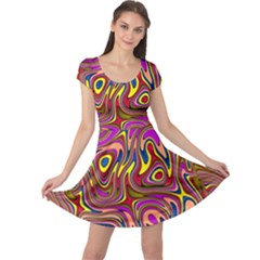 Abstract Shimmering Multicolor Swirly Cap Sleeve Dresses by designworld65