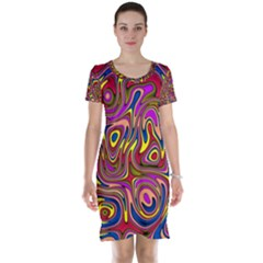 Abstract Shimmering Multicolor Swirly Short Sleeve Nightdress by designworld65