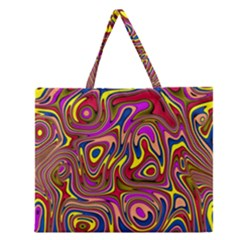 Abstract Shimmering Multicolor Swirly Zipper Large Tote Bag by designworld65