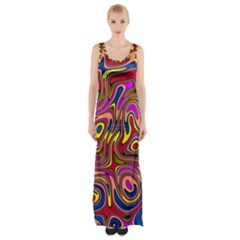 Abstract Shimmering Multicolor Swirly Maxi Thigh Split Dress by designworld65