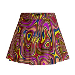 Abstract Shimmering Multicolor Swirly Mini Flare Skirt by designworld65